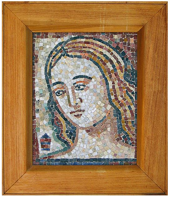 This little mosaic is a picture of my sister, as a young girl. The mosaic is executed in a classic Byzantine style.