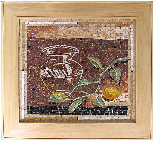"19""x 17"" - This is one of my favorite mosaics. The glass vase is transparent and delicate."