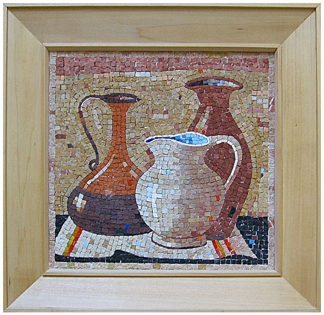 "15""x 15"" -  This realistically executed mosaic is unique in its design and application of earthy colors. This was a subject that appealed to the artists of Antiquity."