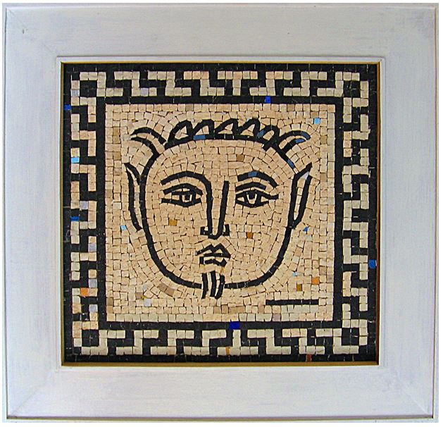 "16"" x 15"" -  According to an ancient myth, Pan is the Greek god of forests, meadows, and shepherds. This black and white mosaic is done in a contemporary mosaic style."