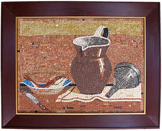 "23"" x 17"" -  This mosaic is characterized by its objects used to form a harmonious composition."