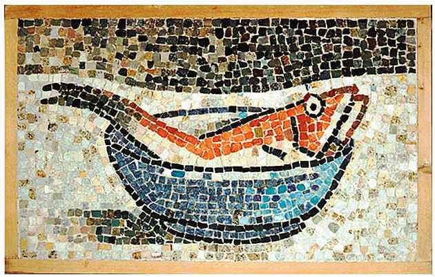 "21""x14""  -  This mosaic depicts another Dalmatian motif. The blue bowl can be related to the undeniably beautiful color of the Adriatic Sea."