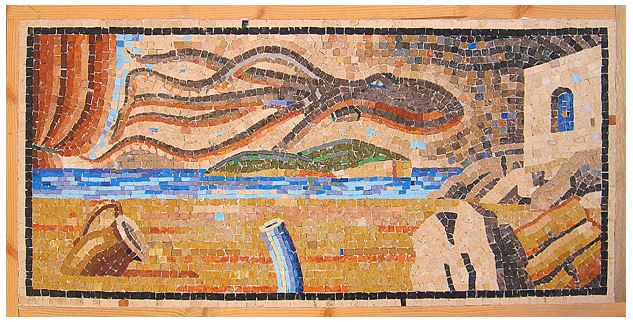 This surrealistic mosaic has the feeling of an unusual dream. In fact, it has the air of deliberate absurdity.