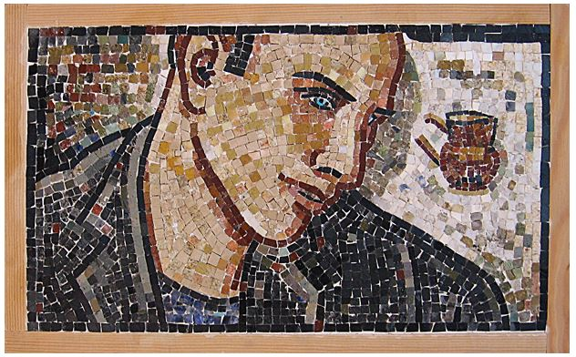 "22""x 13"" - Likenesses are hard to do in a mosaic media, especially, when done in a reverse method."