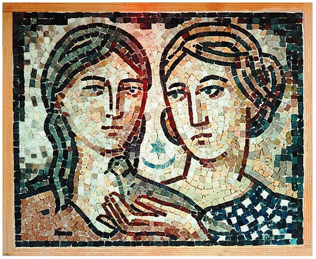 "20""x 16"" -  This mosaic in Byzantine style is executed with a great deal of attention to facial expression of the figures. The mosaic is done in marble tesserae."