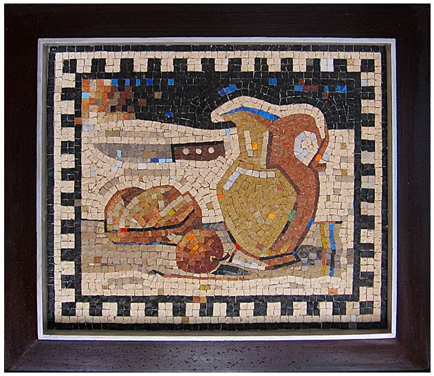 "20""x 17"" - This mosaic, with its modern appearance, still has the overall feel of Antiquity. Perhaps it is the black and white ornamental border that makes it look that way."