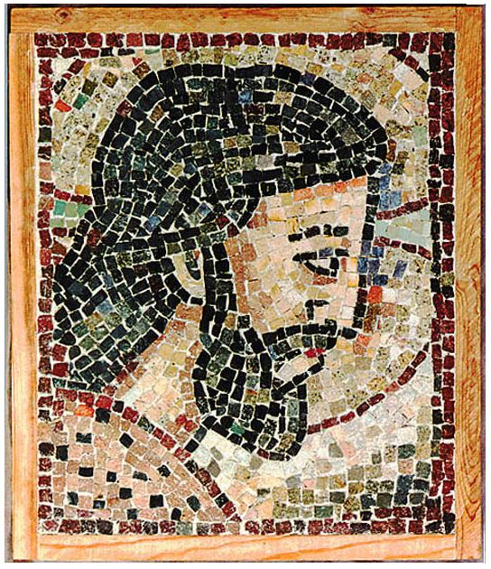 "12""x16"" - In this mosaic, the Good Shepherd, so much liked by artists of the later years of Antiquity, conveys the meaning of true faith."