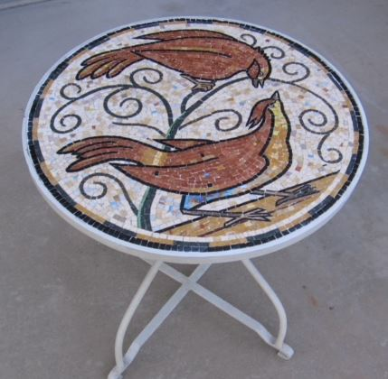 This custom made table top is executed with marble. Diameter: 36""