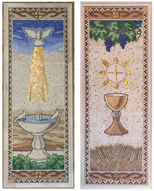 Stephen Brailo was commissioned to execute these 2 mosaics for the St. Andrew's Catholic Church in Roanoke, VA. Each mosaic stands 3' x 8'