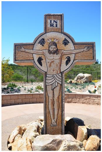 Stephen Brailo was commissioned to execute this life size crucifix for the St. Michael's Catholic Church in Poway, CA. The crucifix stands at 6' x 9'