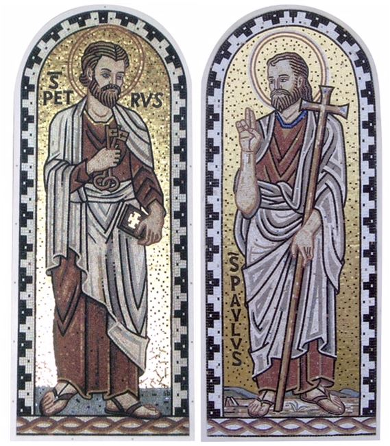 Stephen Brailo was commissioned to execute these two life size mosaics for the Church of St. Martha in Murrieta CA. Each mosaic stands at 3' x 8'
