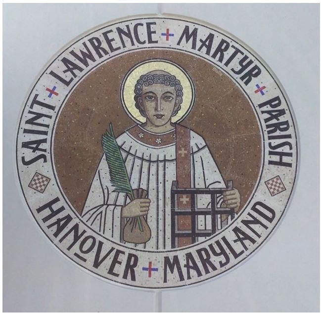 Stephen Brailo was commissioned to execute this mosaic for Saint Lawrence Martyr Parish in Hanover, Maryland. The circle shaped mosaic has a diameter of 7'