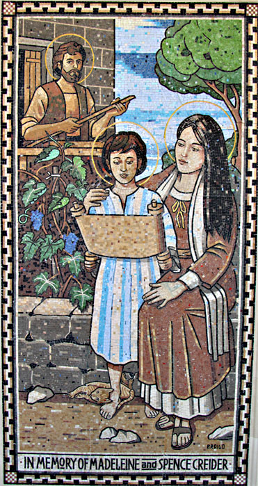 Stephen Brailo was commissioned to execute this mosaic for the San Rafael Parish in San Diego, CA. The mosaic stands 4' x 8'
