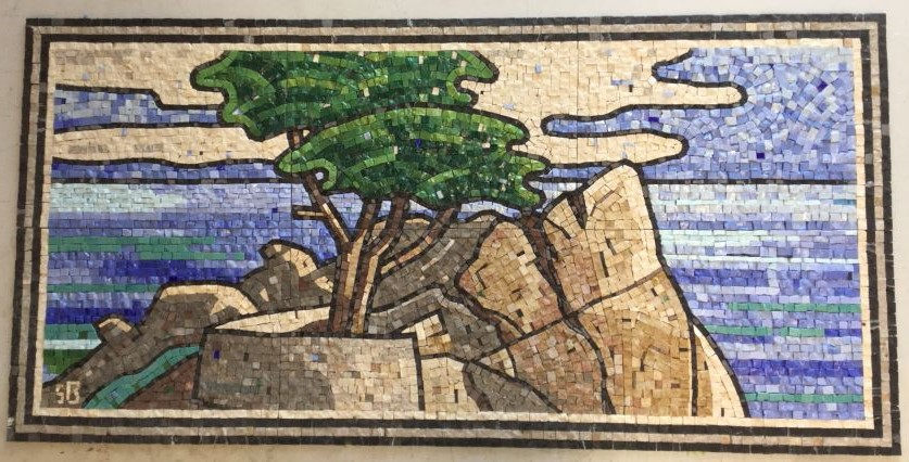 This custom made mosaic is executed with marble and smalti